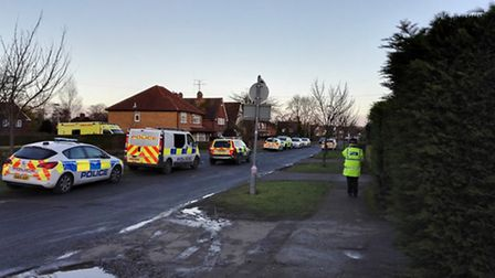 Police and ambulance crews at Whitethorn Lane in Letchworth at about 3.30pm on the day of the crime.