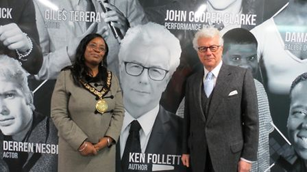 Author Ken Follett has paid tribute to Sherma Batson, pictured with him here while she was Stevenage
