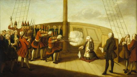 A painting showing the execution of Admiral John Byng by firing squad on the quarterdeck of his form