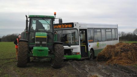 A Stephensons bus went into a Thaxted farm's muck heap