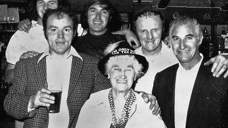 Regulars at Stevenage's Twin Foxes in circa 1971, including Ted Jones pictured top left.
