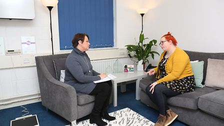 Stevenage Weightloss Centre's Sue Wilcock talks to a client.
