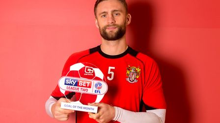 Fraser Franks of Stevenage receives the Sky Bet League Two Goal of the Month award for December - By