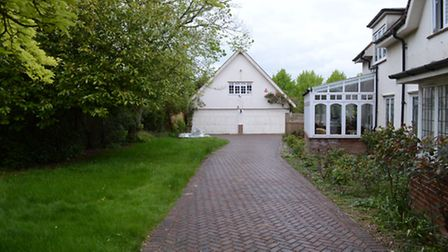 The garage and drive at the home Helen Bailey shared with Ian Stewart.