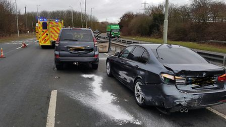 The aftermath of the crash on the A602 between Hitchin and Stevenage. Photo: @HitchinFire1