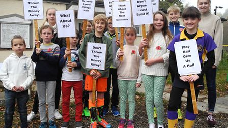 Children in Debden staged a protest over delays to plans to build a new village hall