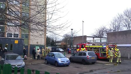 Firefighters at the scene at Harrow Court in Silam Road, Stevenage. Photo: Martin Elvery