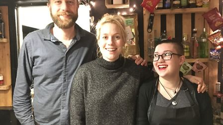Nick Rolfe, Holly-Anne Rolfe and Scubi Forgie of the Garden City Brewery. Photo: JP Asher