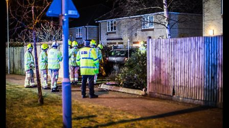 Firefighters helped release two casualties from a car after a crash in Great Ashby last night.