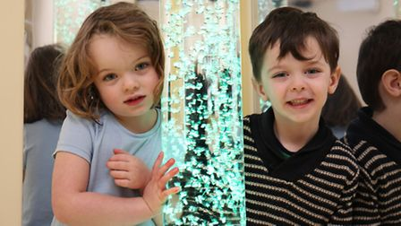 York Road Infant pupils Stephenie Holland and Issac Lavery in the new sensory room.