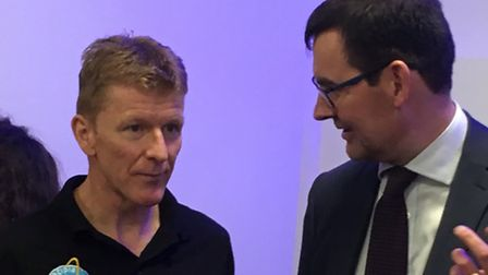 Astronaut Tim Peake speaks with Andy Stroomer from Stevenage's Airbus Defence & Space at the opening