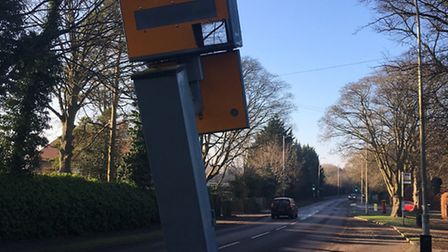 The damaged speed camera in Letchworth.