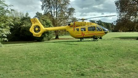 An air ambulance put down in a Stevenage school playing field this afternoon after a 15-year-old boy