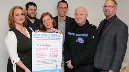 Police and venue owners at the launch of the Ask Angela campaign. From left, Detective Sergeant Alex