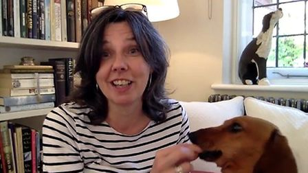 Helen Bailey with her miniature dachshund Boris, who was found dead alongside her in a cesspit at he