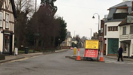 The diversion in place at Shortmead Street in Biggleswade.