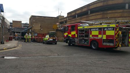 Emergency crews outside the Ibis Hotel in Stevenage after the car crash.