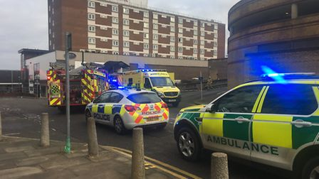 Emergency crews outside the Ibis Hotel in Stevenage after the car crash. Photo: @AmboOfficer