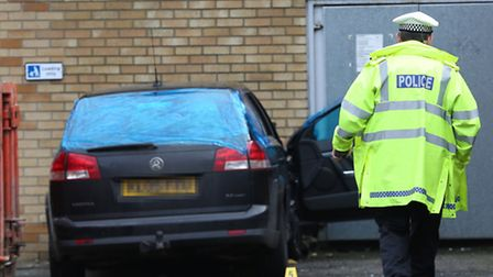 Police on the scene after the crash in Swingate this morning.