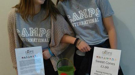 Samuel Whitbread Academy pupils Millie Stollery and Charlotte Barber, fundraising towards their Tanz