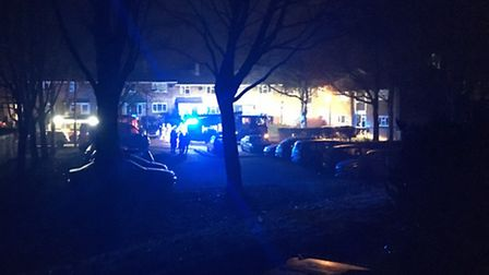 The scene at Tye End in Stevenage at 1.30am last night.