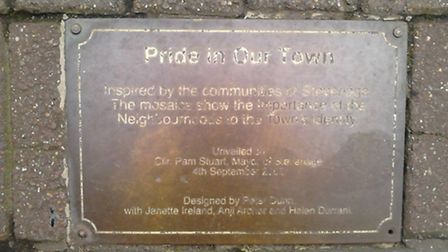 The plaque showing the mosaic was named 'Pride in our town'