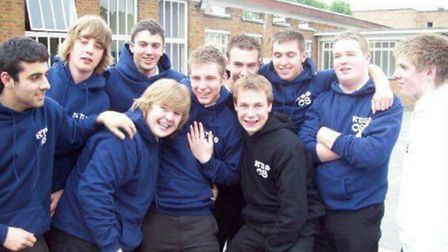 Ainsley Charles, second from left, with friends on his last day at Baldock's Knights Templar School