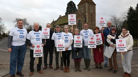 Holwell residents protest about proposed traffic changes in their village.