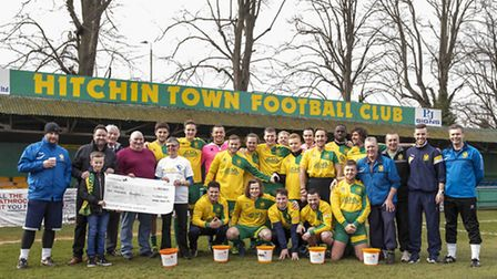 Hitchin Town FC raised £1,000 for neonatal charity Sands UK. Picture Peter Else.