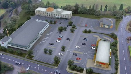 An artist's impression of the proposed Letchworth Gateway development off Avenue One, including a Mc