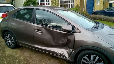 The damage caused to a parked Honda after a collision in Baldock today. Picture: @roadpoliceBCH via