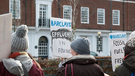 The protesters outside Letchworth Barclays on Saturday.
