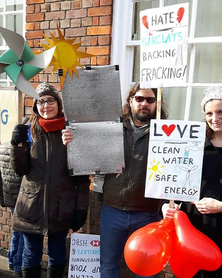 The Letchworth anti-fracking protesters on Saturday.
