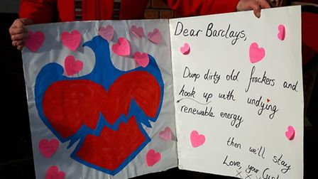 The protesters' Valentine's card, urging Barclays to 'hook up with undying renewable energy'.