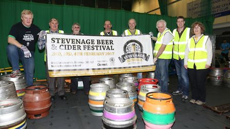 Volunteers for the Stevenage Beer and Cider Festival set up in the leisure centre.
