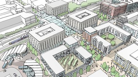Artist's impression of what the area around the town centre could look like.