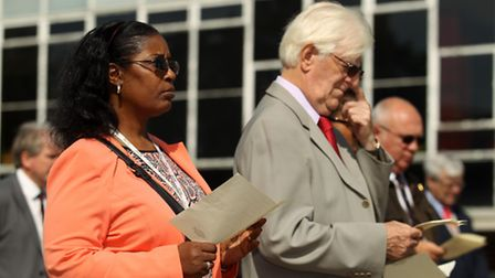 Sherma Batson pictured with Councillor John Gardner at a VJ Day service in Stevenage.