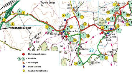 The route for the Baldock Beast Half Marathon 2017. Picture: Courtesy of James Lunnon