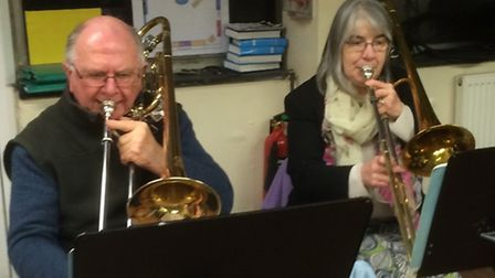 The Mike O'Neill Big Band practises for the show next month. Photo: Courtesy of Mike O'Neill