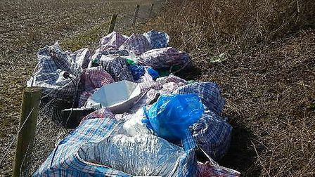 The waste from the cannabis factory, in the field near Breachwood Green. Photo: Courtesy of North He
