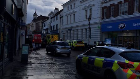 Police and the ambulance service were called to Hitchin High Street after a man collapsed outside Ba