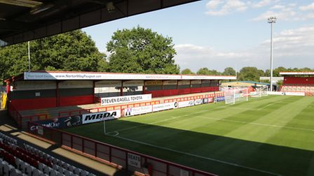 Looking from The Lamex Stadium's Main Stand left towards the North Stand, which Stevenage FC says is