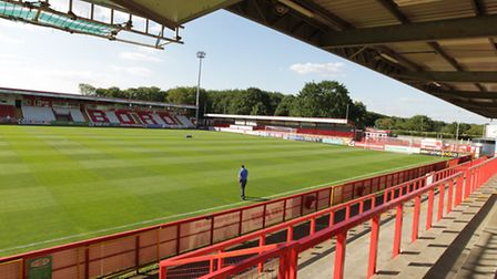 Looking from the East Terrace towards the Main Stand and the North Stand. Picture: Harry Hubbard