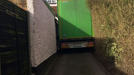 The lorry stuck in Walkern High Street after coming up Winters Lane. Photo: Emma Cannon