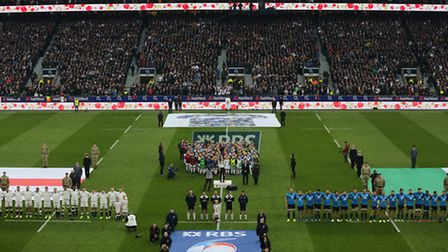 Letchworth's Ben Galvin and others on the pitch before the England vs Italy Six Nations rugby match,
