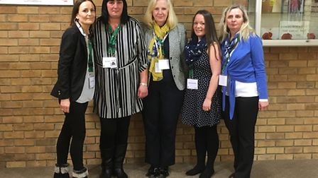 Survivors of domestic abuse from left, Tanya, Marzianna, Sue and Mel with council leader Sharon Tayl