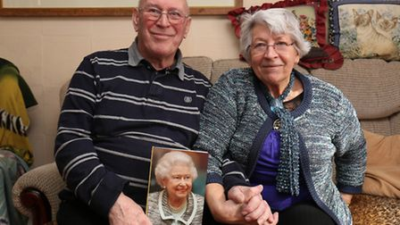 Roy and Marie Spriggs celebrate their diamond wedding anniversary with a card from the Queen.