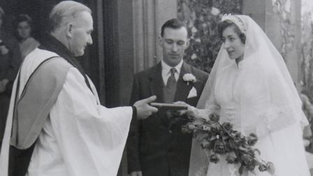 A photograph from the Spriggs' wedding, which was the first to be held at St Paul's Church in Letchw