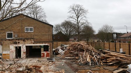 The demolition of the Twin Foxes pub on Rockingham Way is underway.