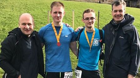 Letchworth ultramarathon runners Samuel Nobbs, 20, and George Lucas, 21, with their respective dads